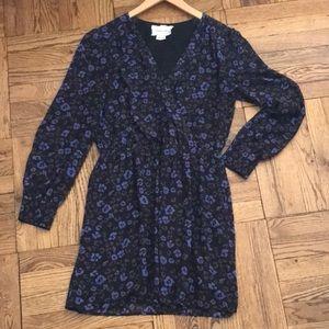 Coincidence & Chance Black Blue V-Neck Dress Sz L